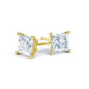 Valentia 18K Yellow Gold Princess Cut Moissanite Earrings