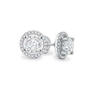 VOGUE - Round Moissanite & Diamond 18k White Gold Halo Earrings Earrings Lily Arkwright
