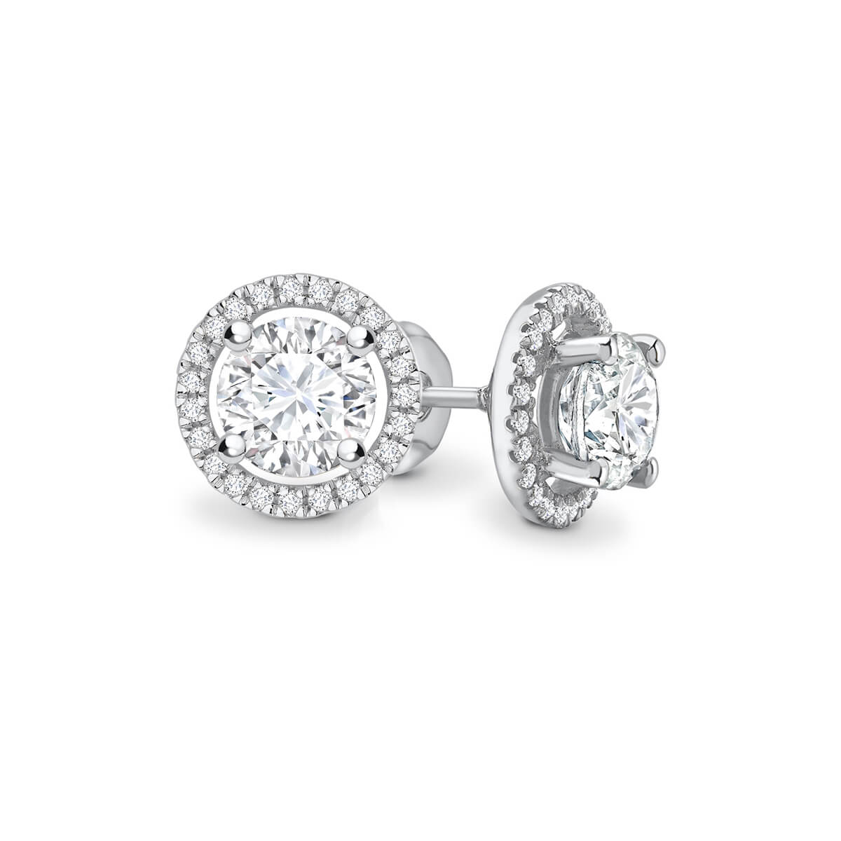 Lily Arkwright Earrings VOGUE - Moissanite & Diamond Platinum Gold Halo Earrings