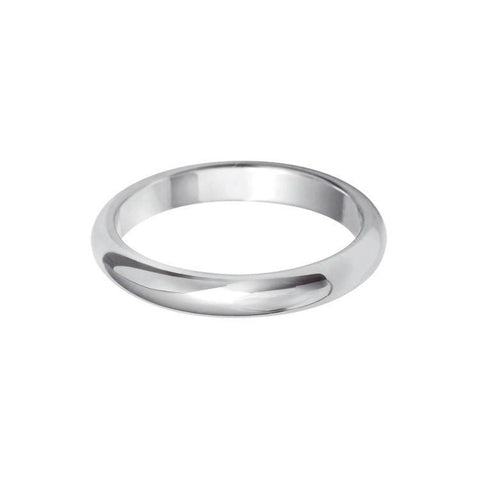 Plain Wedding Band Heavy D Profile 18k White Gold