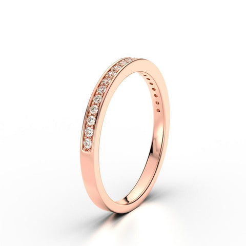 Harper 18K Rose Gold Diamond Wedding Band