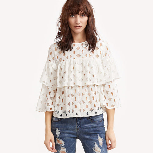 'Annie' Cut Out Layered Lace Top