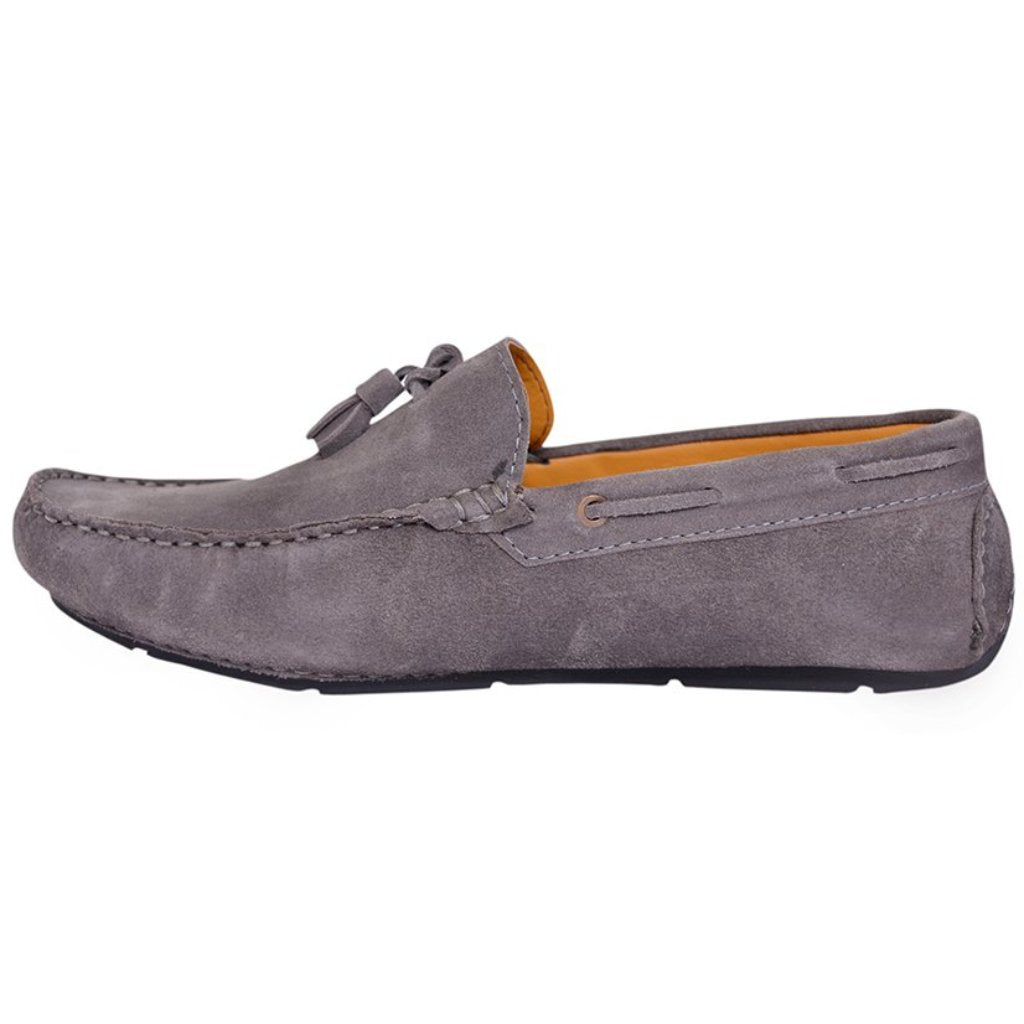 0652d1cf498 Suede Tassel Loafers (Grey) - Handmade Shoes