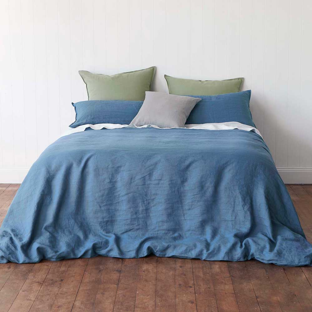 Montauk Linen Sheets - Vintage Denim Blue