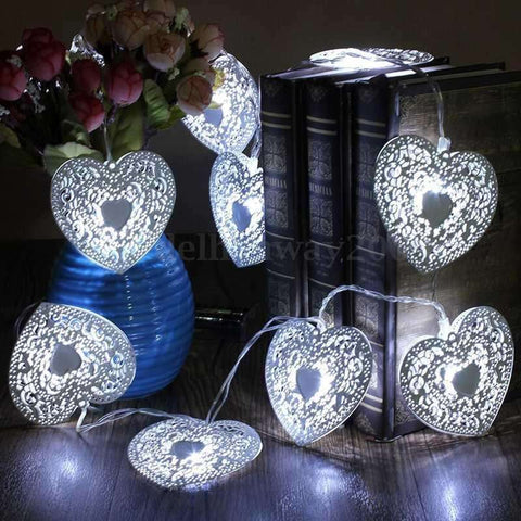 10 Heart Shaped LED Fairy Lights with Battery Case