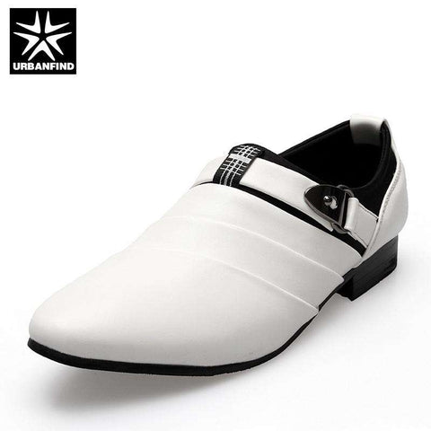 URBANFIND Business Gents Oxfords Black / White Formal Pointed Toe Slip On Shoes