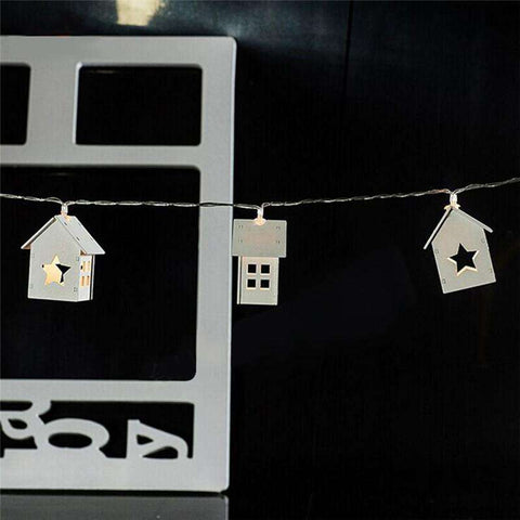 10 LED Wooden House Star Lights