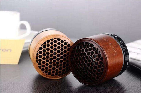 MCOLDATA Original Wooden Mini Portable Stereo Bluetooth Speaker