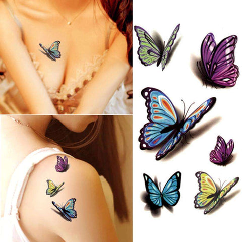 JETTING Waterproof 3D Colorful Butterfly Temporary Tattoo Stickers