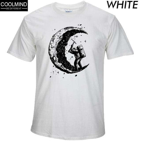 100% cotton digging the moon print casual mens o-neck t shirts fashion men's tops men T-shirt short sleeve men tshirt 2017
