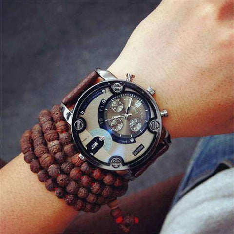 LONGBO Retro Blue Big Dial Quartz Military Sport Watch