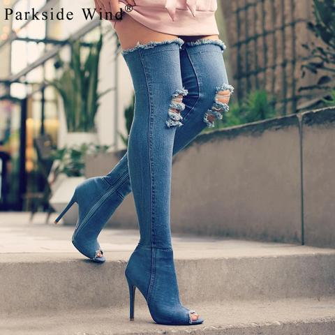 PARKSIDE WIND Trendy Sexy Ladies Over Knee Thin Heels Boots