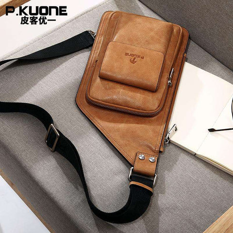 P.KUONE Luxury Design Cow Leather ChestPack Single Shoulder CrossBody Bag