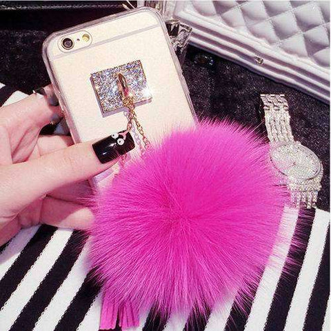 LOVECOM Luxury Fox Fur Ball Phone Case for iPhone 6, 6S, 6Plus, 6SPlus