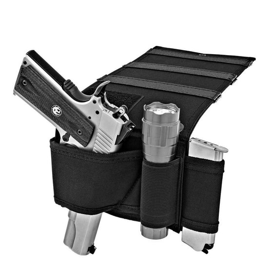 Under Mattress Bed Handgun Holster with Tactical Flashlight Loop