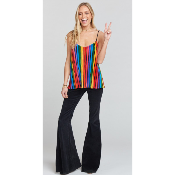 Julia Top ~ Rainbow Parade Pleat