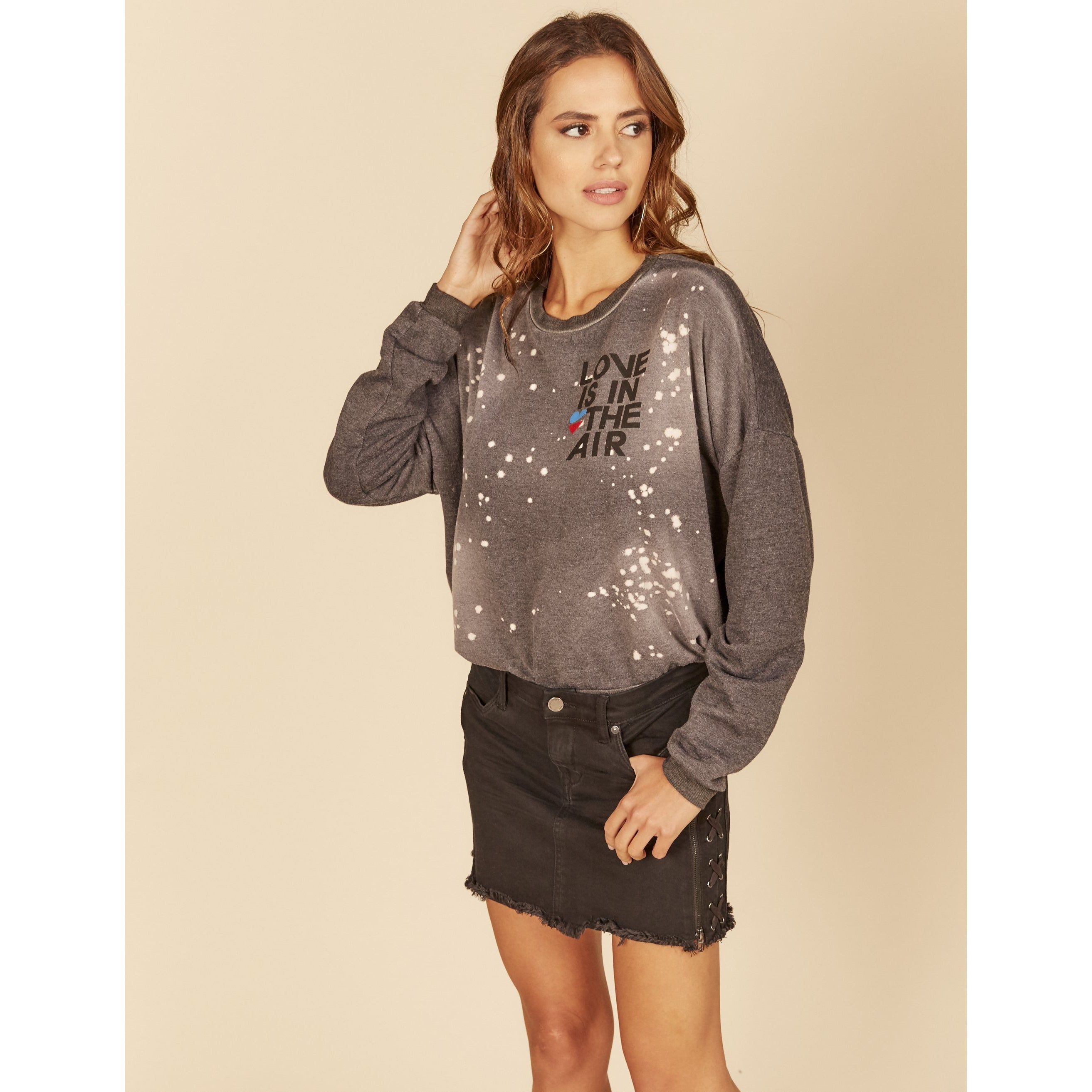Love Is In The Air Bleach Splatter Crewneck Sweater
