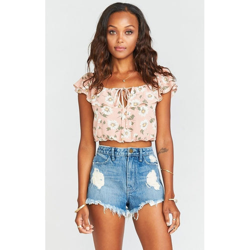 Darla Top ~ Daisy Duke Floral Pebble