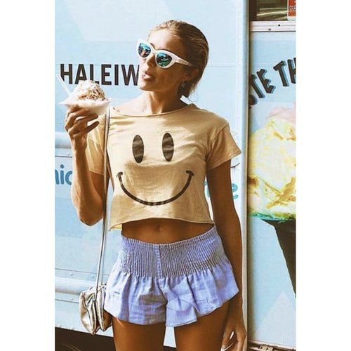 Smiley Shirt Crop Top