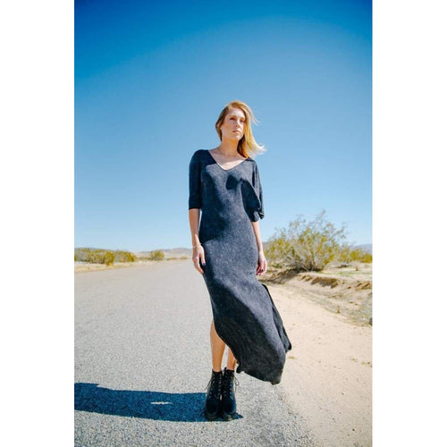 Butterfly Dress Acid Wash Maxi with Leg Slits