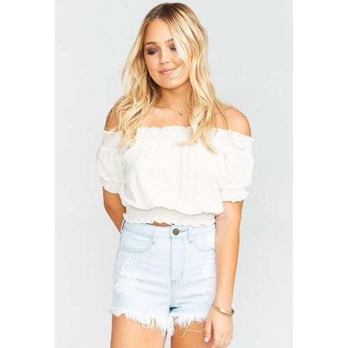 Wyoming High Waisted Shorts ~ Whitewater