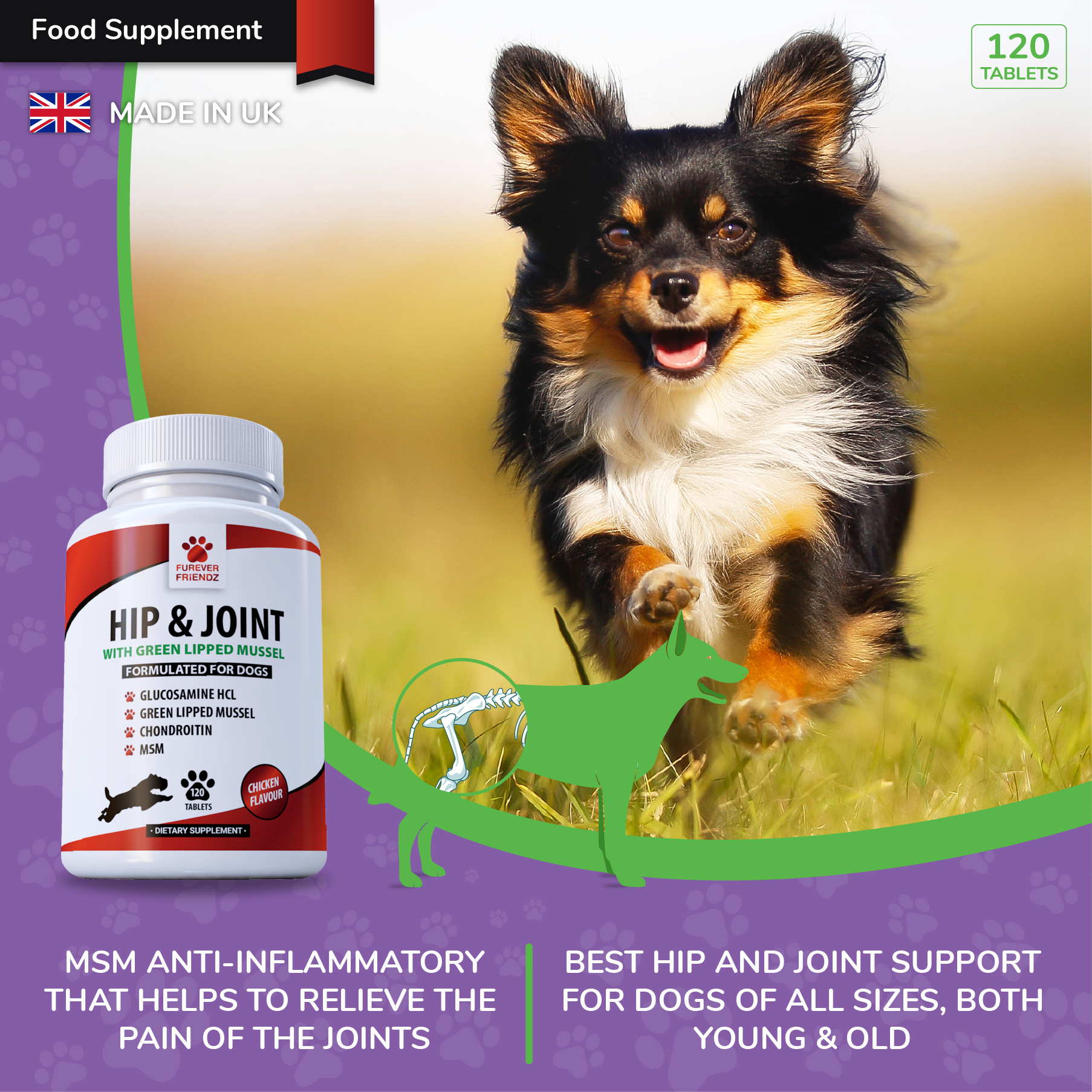 Glucosamine for Dogs with Green Lipped Mussel, Chondroitin, MSM & Vitamin C (Chicken Flavour Tablets)