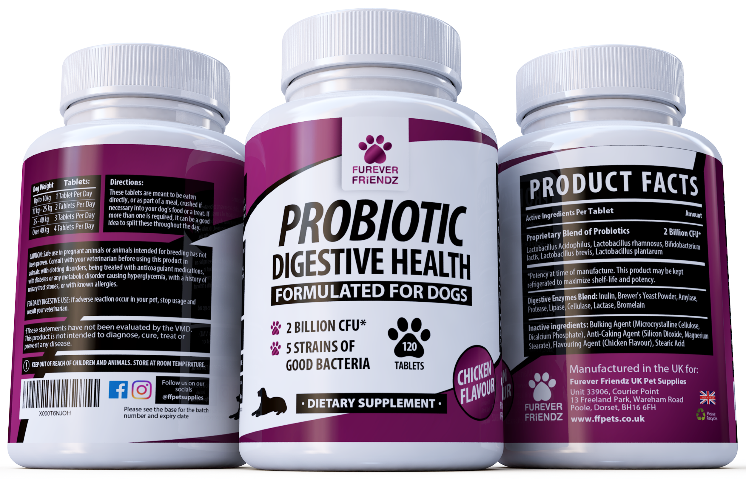 Probiotics for Dogs: Aids Good Digestive Health (Chicken Flavour Tablets)