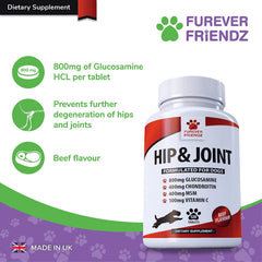 Triple Stength 800mg Glucosamine for Dogs with Chondroitin, MSM & Vitamin C (Beef Flavour Tablets)