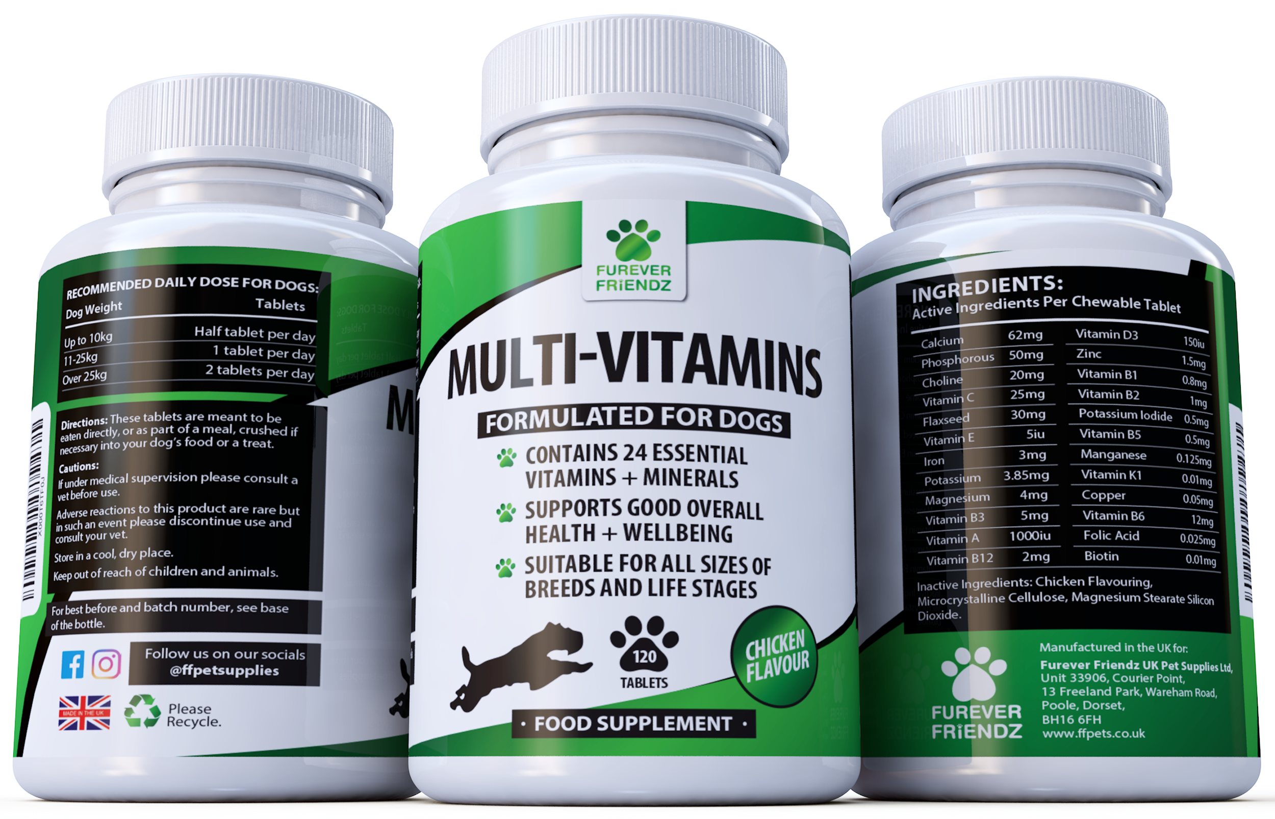 Daily Multi-Vitamins for Dogs: Overall Health & Well-Being (Chicken Flavour Tablets)