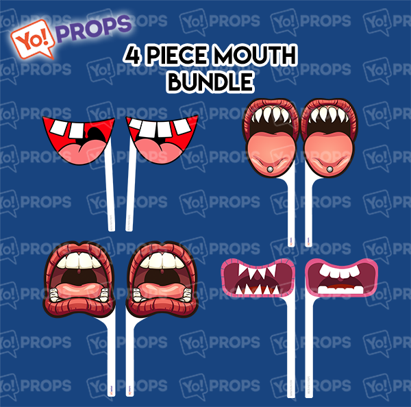 A Set Of (4) Mouths/Lips On A Stick – 4 Piece Mouth Bundle