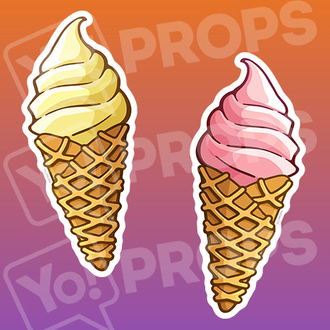Sweets Prop – Vanilla/Strawberry Ice Cream Cone