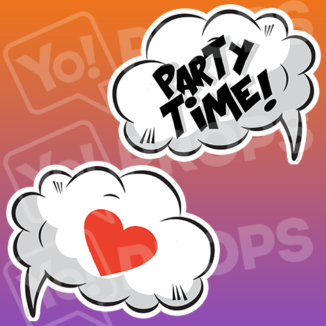 "Speech Bubble Prop – ""Party Time! / Heart"""