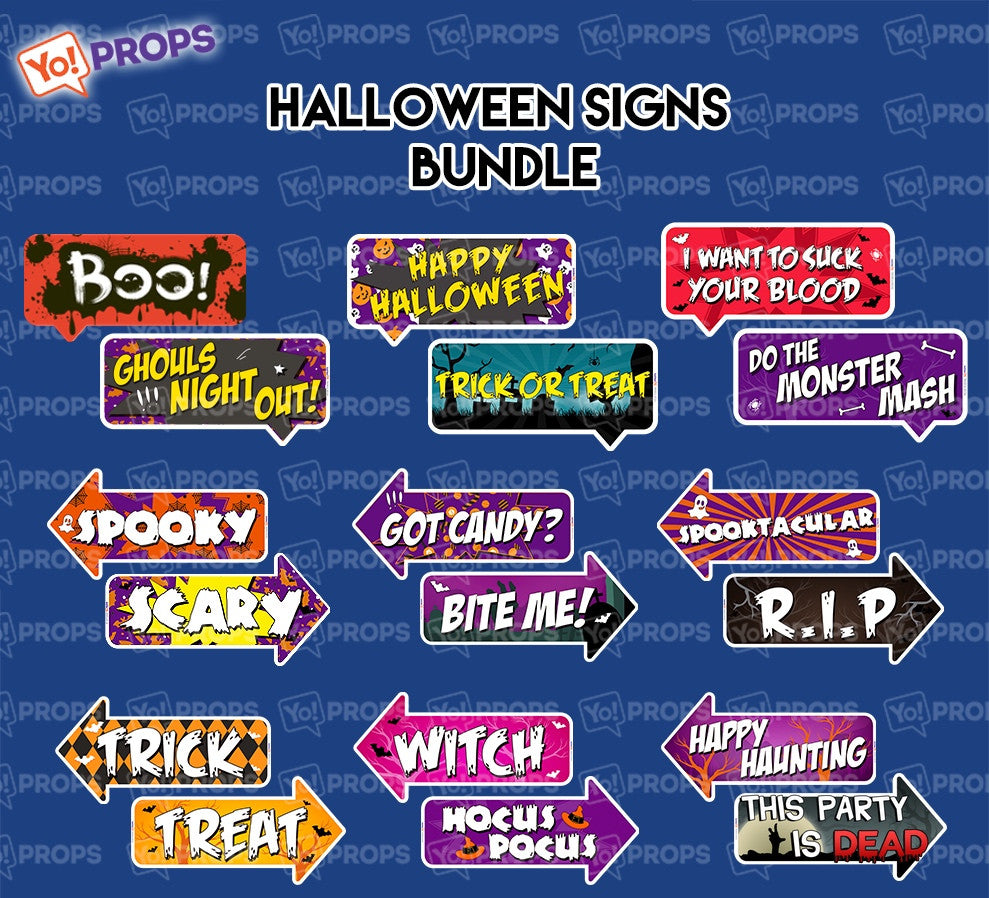 A Set Of (9) Props – The Halloween Sign Bundle
