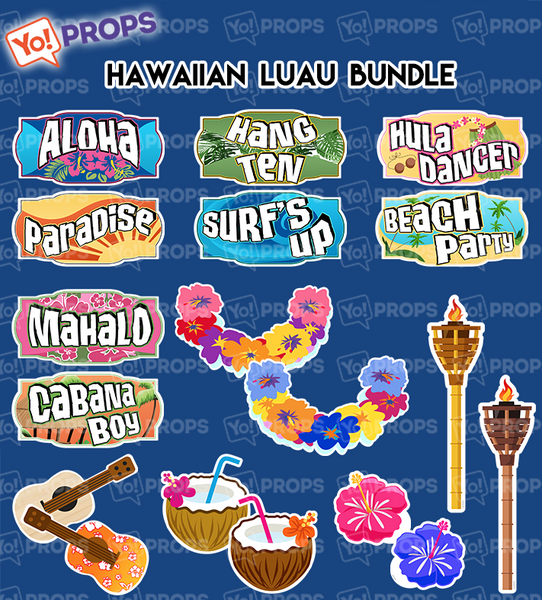 A Set of (9) Hawaiian Luau Bundle