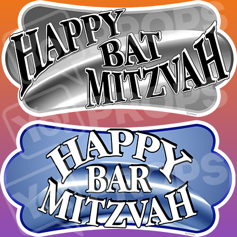 "Mitzvah Prop – ""Happy Bat Mitzvah / Happy Bar Mitzvah"""