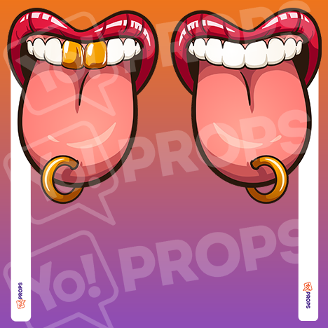 Mouth On A Stick 1.0 - Tongue Ring/Tongue Ring With Gold Teeth