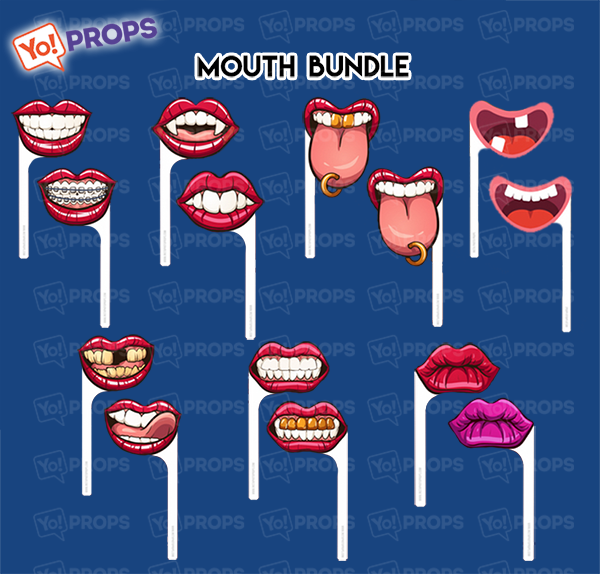 A Set Of (7) Lips/Teeth/Tongues On A Stick – The Mouth Bundle 1.0