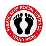 Individual Social Distancing Floor Stickers - Standing on Red