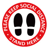 Individual Social Distancing Floor Stickers - Standing on Blue
