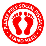 Individual Social Distancing Floor Stickers - Black Barefoot