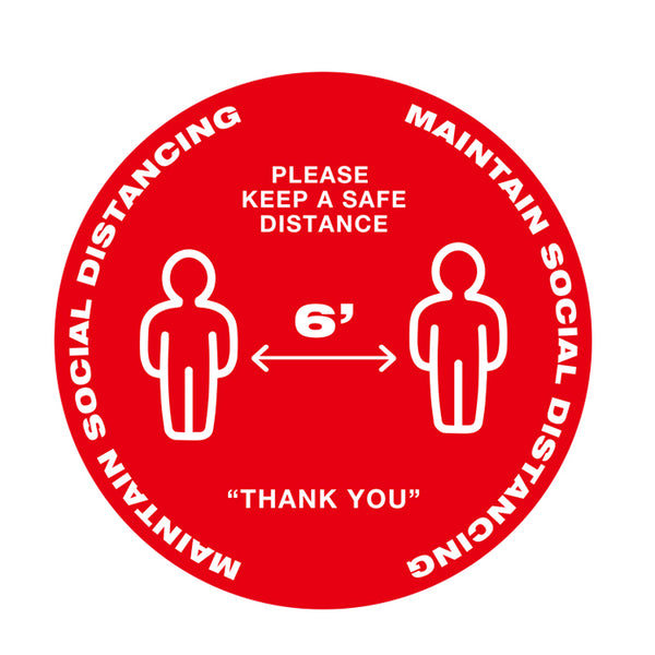 Individual Social Distancing Floor Stickers - People Standing on Red