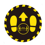Individual Social Distancing Floor Stickers - Yellow on Black