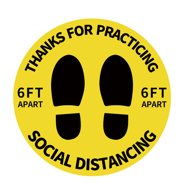 Individual Social Distancing Floor Stickers - Black on Yellow