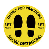 Individual Social Distancing Floor Stickers - Standing on Green