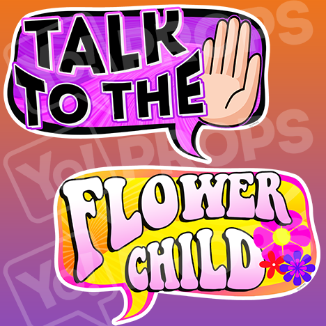 Retro - Talk to the Hand & Flower Child Sign