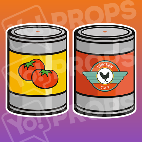 Prop - 2 Tomato/Chicken Soup Cans tie together
