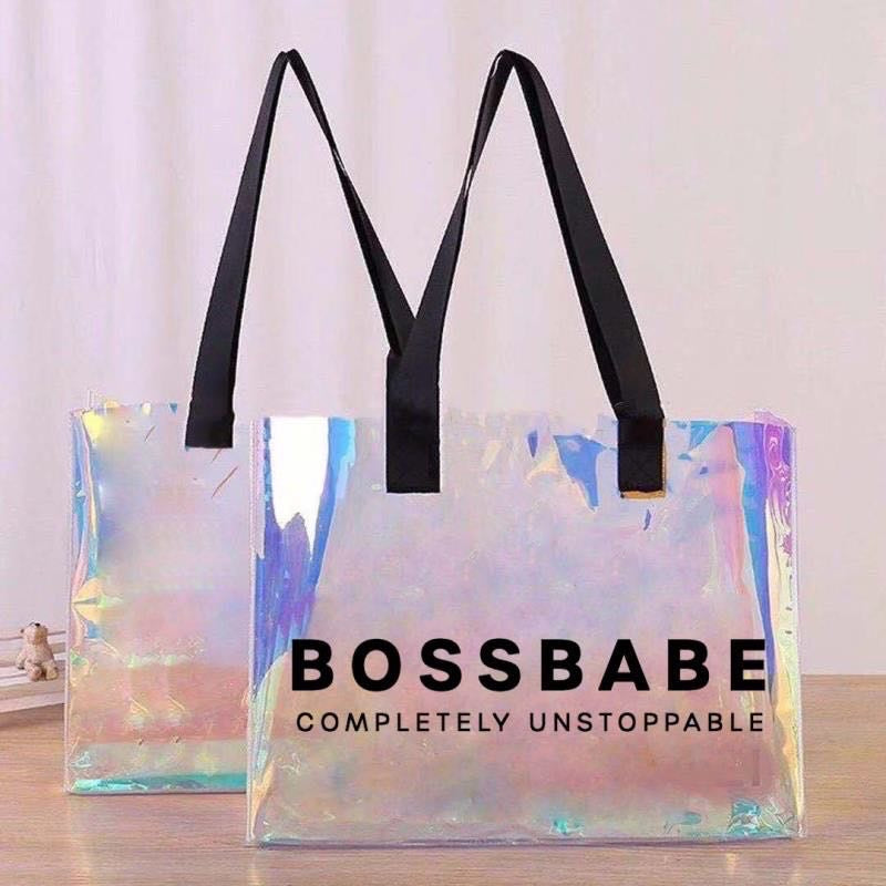 BOSS BABE Holographic Tote Bag