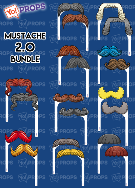 A Set of (10) Mustache On A Stick –  The Mustaches 2.0 Bundle