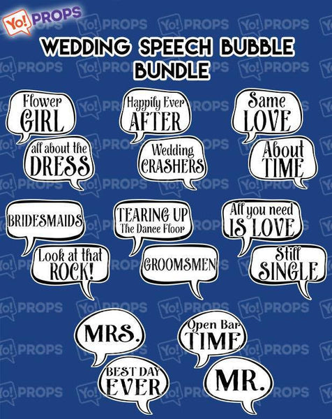 A Set of (8) Wedding Speech Bubble Bundle