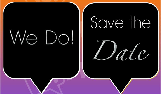 We Do! / Save the Date Black Engagement Prop